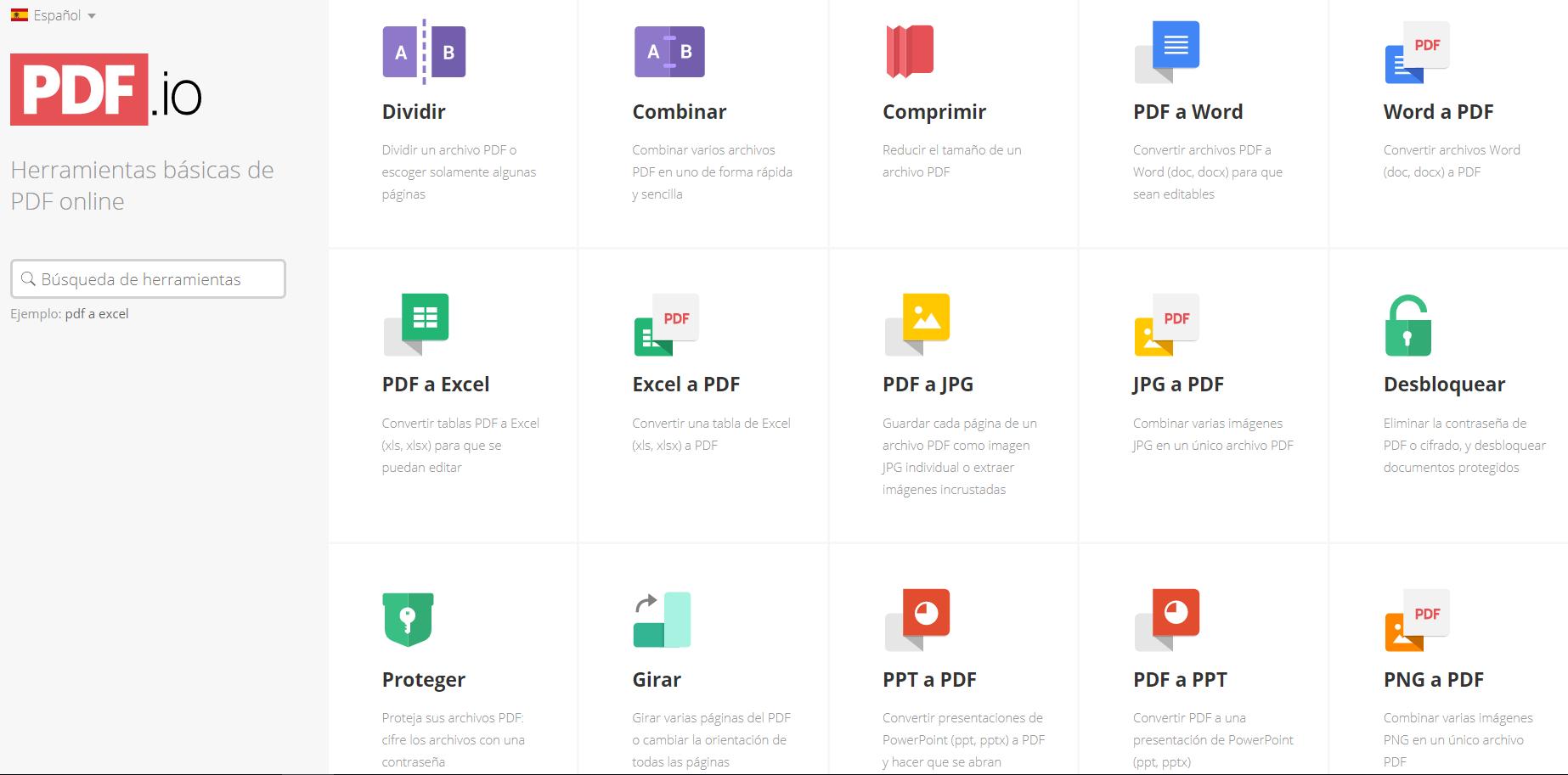 PDF.io: Conversión de PDF a distintos formatos, y viceversa