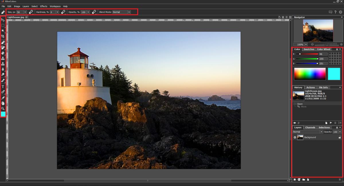 Funciones de edición de imagen AliveColors
