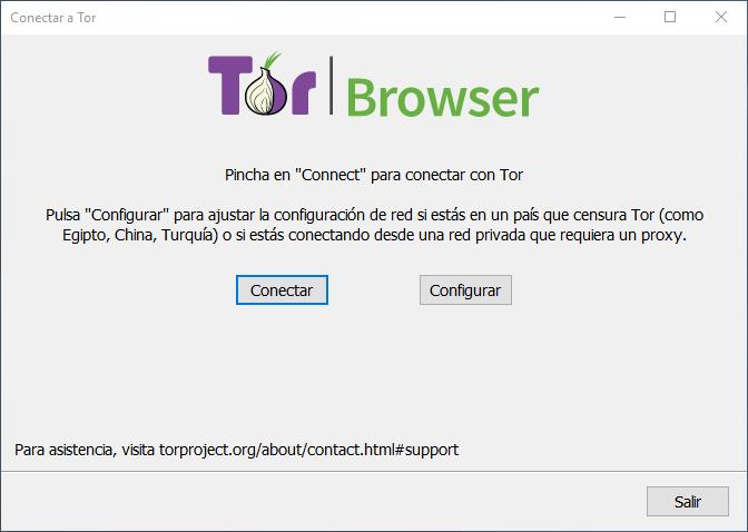 Interfaz Tor Browser