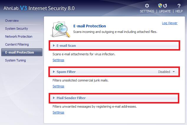 AhnLab V3 protección e-mail