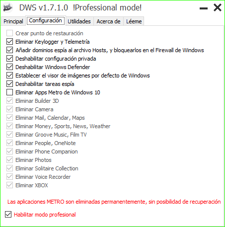 DWS servicios espia windows 10