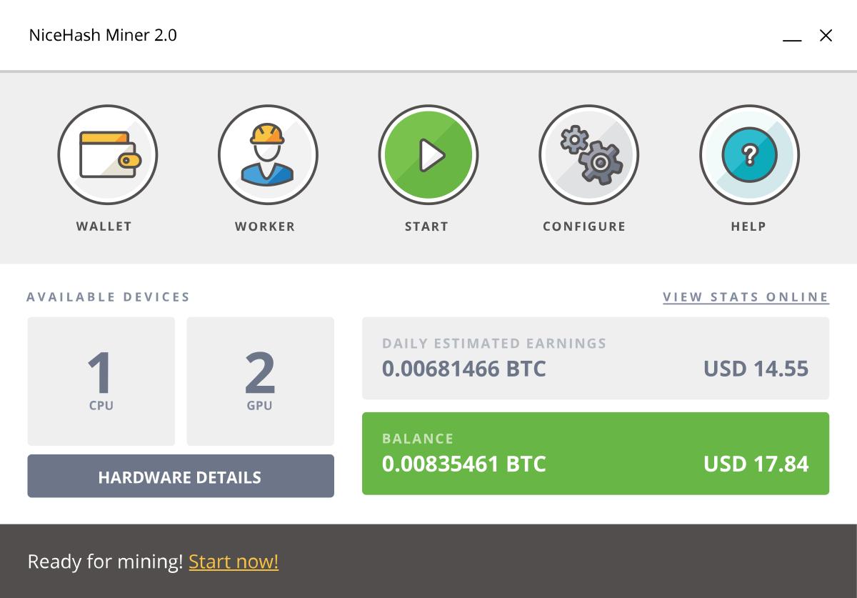 NiceHash Miner minar Bitcoins