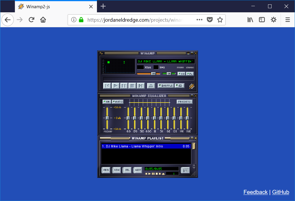 Winamp2-js reproductor winamp html 5