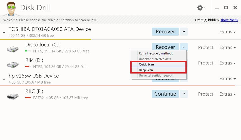Disk Drill búsqueda profunda de archivos