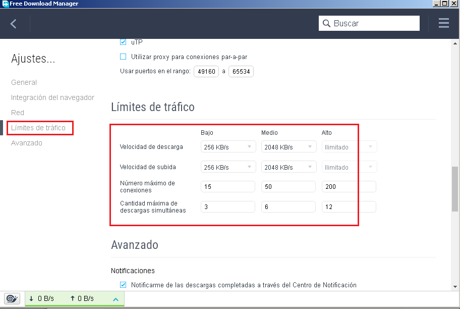 Limite de tráfico Download Manager