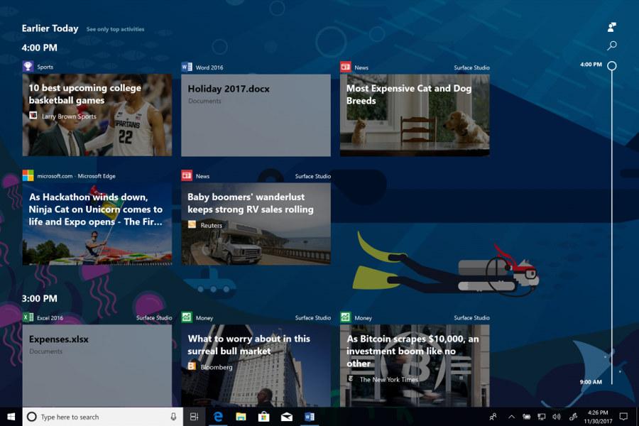 Timeline Windows 10 Redstone 4