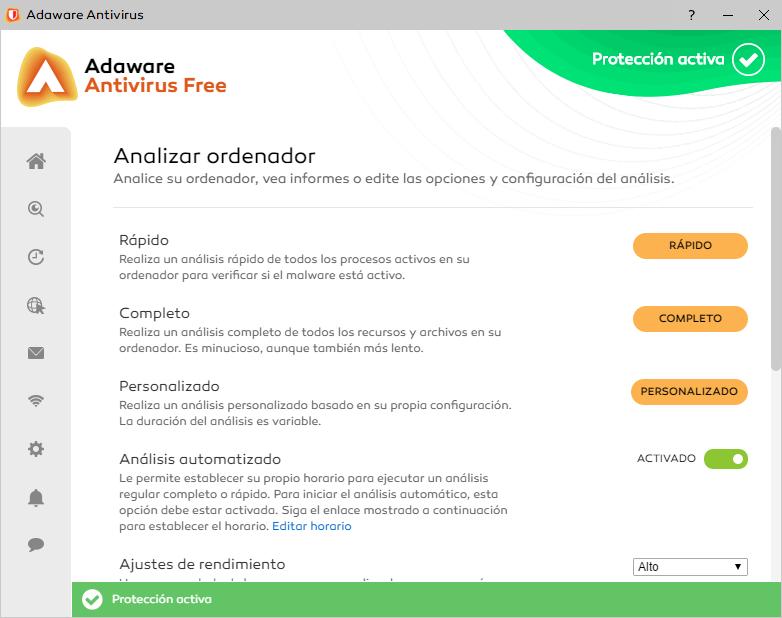 Escaneo de virus de Adaware Free
