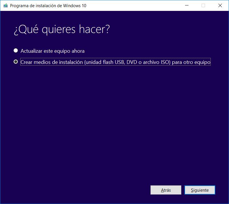 Herramienta de creación de medios Windows 10