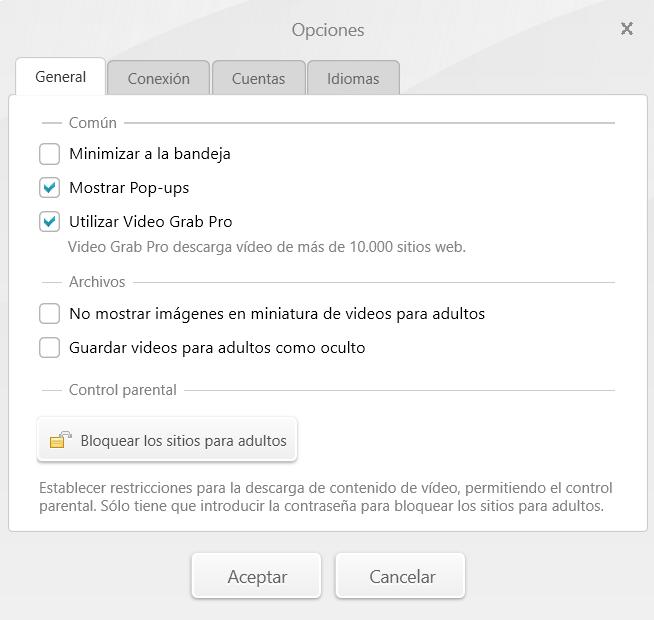 Opciones Video Downloader