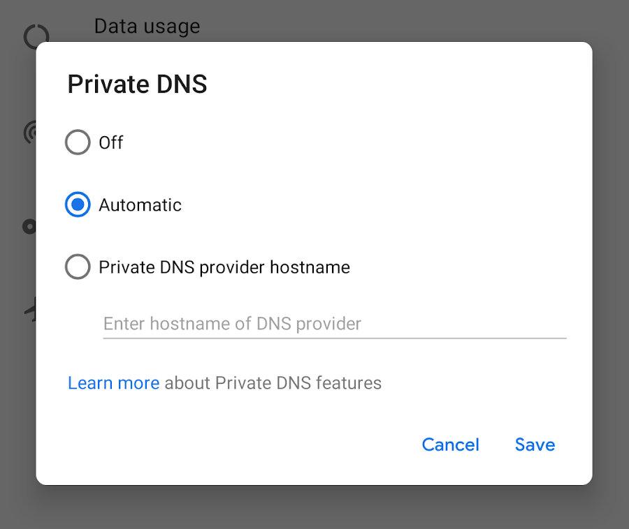 DND sobre TLS Android Pie